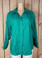 JM COLLECTION Womens Size 14 3/4 Sleeve Shirt Button Down Textured Green Top