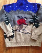 Medium LRL Lauren Ralph Lauren Hand Knit Wool Sweater Ski Skier Skiing Mock