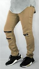 mens skinny Distressed Stretch Biker ripped Slim Tapered Pants