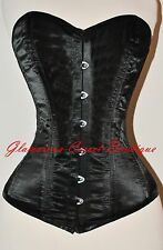 Black Corset Real Steel Boned Overbust Waist Training Size XS-3XL