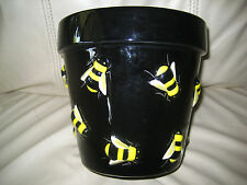 BEAUTIFUL BLACK CERAMIC POT WITH YELLOW & BLACK EMBOSSED BEES - NWT