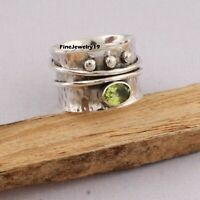 Peridot Ring 925 Sterling Silver Spinner Ring Meditation Statement Jewelry B21