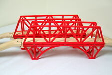 """2-14"""" CONNECTABLE RED BRIDGES WITH ASCENDING TRACKS , EUC"""