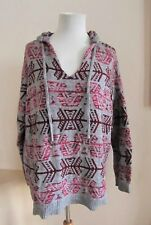 American Eagle Womens Hoodie Sweater sz Large Tribal Aztec Gray Pink Wine Cotton