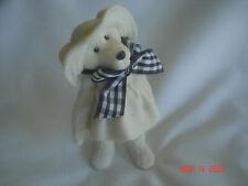 Cute! 1997 Sarah'S Attic All White Daisy Bear Figurine Black & White Ribbon Bow