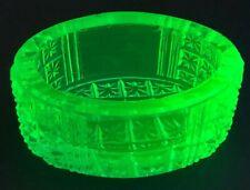 Vtg Antique EAPG Open Salt Cellar Dip URANIUM Vaseline Pattern GLASS Heavy Thick