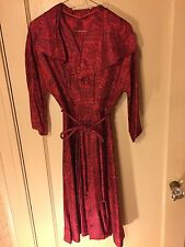1940's Silk Red & Black Paisley Dress   Size 6