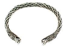 Small Viking Dragon Head Sterling Silver Bracelet, Norse, Celtic, Reenactment