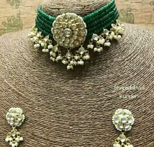 Bollywood Gold Plated Jewelry Indian Pachi Kundan Polki Green Bridal Necklace