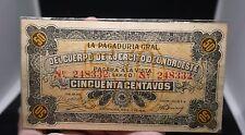 MEXICO REVOLUTION NOROESTE ARMY NOTE GUADALAJARA M-2267 50 CENTAVOS 1915  #278