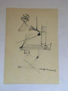 Old Rolf Caveal Signed Dated 1961 Abstract Original Pen Modern Drawing
