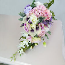 Vintage Waterfall Style Bridal Bouquet Artificial Hand Silk Flower for Bride
