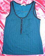 OLD NAVY Blue Geo Dot Black Print Tank Top Cami Shirt Blouse Small NWOT New