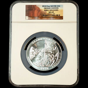 2010 5oz 0.999 Silver 25C GRAND CANYON - NGC MS 69 Early Releases - No Reserve