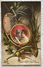 WW1 Patriotic romance fantasy Lady & Soldier original Old Postcard c.1916