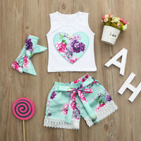3pcs Toddler Infant Baby Girl Floral Clothes Set Tops+Shorts+Headband Outfits