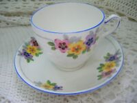 Rare Hand Painted 1930's Floral Art Deco Vintage Grafton China Tea Cup & Saucer