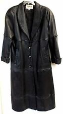Trench Coat Ladies Small Black Leather Scalloped Trim Jacket USA Evan Arpelli
