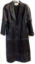 Trench Coat Ladies Small Black Leather Scalloped Trim Jacket USA Evan Arpelli