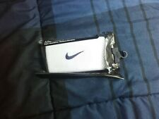 Nike White Wristband With Navy Blue Swooch