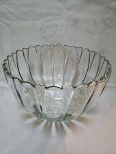 Extra Large  VTG Clear Glass Bowl,scallop edges, deep ,hobnail bottom,(EUC)