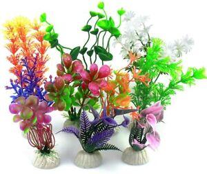 Mixed Artificial Aquarium Fish Tank Grass Plant Plastic Decoration Ornament - UK