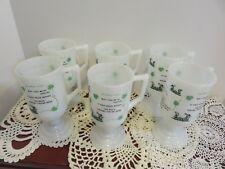 Rare Vtg Irish Pedestal Milk Glass Mugs Irish Coffee Recipe / Irish Toast  (6)