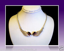 BIRTHDAY QUINCEANERA SWEET 16 SILVER ANGEL WINGS PURPLE NECKLACE GIFT FOR WOMEN