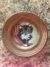 Vintage Original Tuxedo Cat Kitten Painting Miniature Antique Doll House Art
