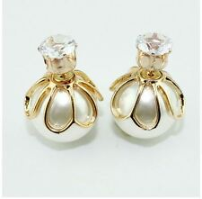Double Sided Pearl and CZ Stud Earrings TRIBAL BOHO Elegant Gold FREE GIFT