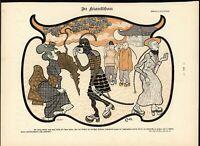 Racist Japanese Stereotypes Noble Woman Samurai 1898 antique Art Nouveau print