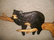 Hand Carved BLACK BEAR CUB SLEEPING n TREE BRANCH Wall Art Chainsaw Wood Carving