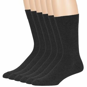 Mens Cotton 6 Pack Dress Business Anti-itch Soft Crew Socks Large 10-13 Charcoal