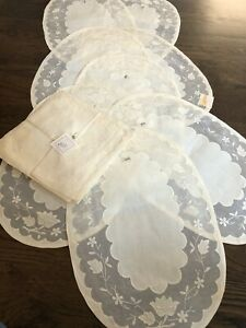 Vintage NEW MADEIRA 16 PCS Table Mat Applique PLACEMAT NAPKIN Set EMBROIDERED