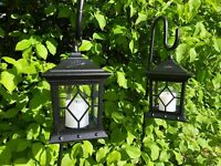 2 x Metal Garden Outdoor Lanterns with Flickering LED Battery Candle Great Value