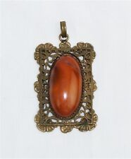 "Antique Amber Agate Oval Cabochon Gold Tone Floral Filigree Pendant - 2 1/4"" L"
