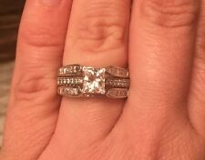 Zales 1/2 Carat 14K Princess Cathedral Diamond Enhancer Ring Guard Wrap $2200