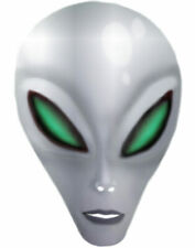 Adult Silver Area 51 Science Fiction Alien Costume Latex Mask Large Eyes