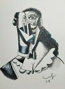 George Condo - Signed Contemporary Art - Signed Sketch Original Drawing Artwork