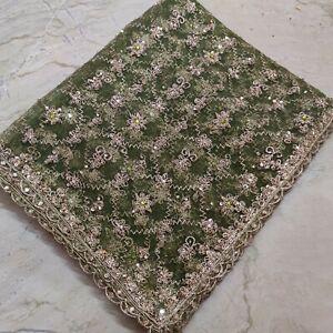 Ethnic Indian Wedding Dupatta Scarf Zardozi Beaded Tissue Net Veil Stole Hijab L