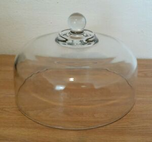 """Clear Glass Large Cake Plate Dome Cover Heavy Lid Cloche Replacement 11"""""""