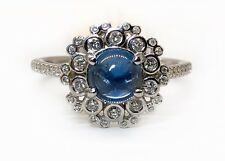 14k White Gold 1.9 Ct Natural Diamond & Cabochon Sapphire Halo Ring Size 8