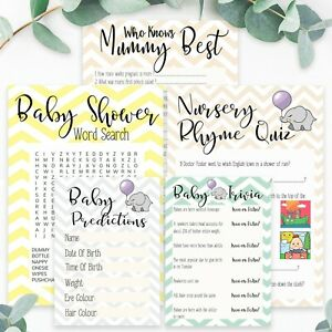 Baby Shower Games 5 in 1 Ultimate Bundle Neutral Boy Or Girl 10 Sheets Per Game
