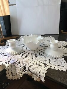 2 Vintage Fenton Milk Glass Silver Crest Candle Stick Holders And Ruffled Bowl