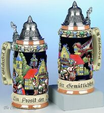Traditional Bavarian German Oktoberfest Beer Stein Mug Krug with Lid 0.75 Liter