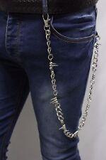 Men Silver Metal Wallet Chains Jeans Biker Rocker Biker Long Strand Spikes Charm