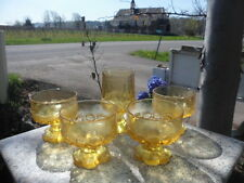 Vintage 1970s Lot of 5 Yellow Amber Heavy Glass Goblet Set Mid Century Modern
