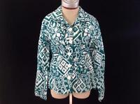 Croft & Barrow jacket womens size L large white green geometric print linen