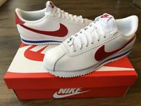 NIKE Cortez Basic SL Mens Trainers, White/Red/Blue - Size 7