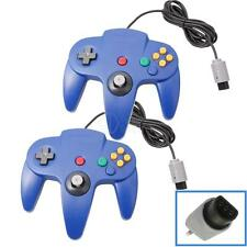 2X New Wired Game Controller Joystick for Nintendo 64 N64 Gamepad Blue UK